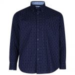 KAM Casual Check Shirt with Dobby Embroidery