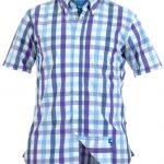 D555 Rowan Short Sleeve Button Down Dress Check Shirt