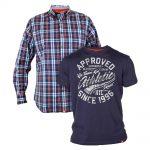 D555 – Tall Ridge Long Sleeve Shirt & T-shirt Combo – Navy
