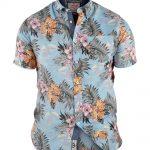 D555 Honolulu Hawaiian Leaf Print Short Sleeve Shirt