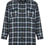 KAM Fashion Check Shirt with Chest Pocket in Black