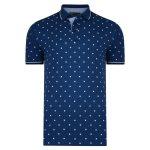 Kam Printed Short Sleeve Polo Shirt Denim Blue