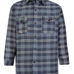 KAM Fashion Check Shirt with Chest Pocket in Navy Blue|6XL