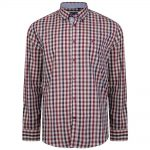 KAM LS Retro Check Shirt in Rose |7XL