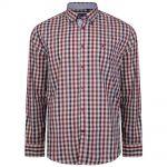 KAM LS Retro Check Shirt in Rose |4XL