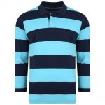 Kam Rugby Pique Long Sleeve Polo Stripe Turquoise