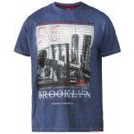 D555 Cain Brooklyn Print Short Sleeve T-Shirt Denim Blue