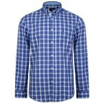 KAM Long Sleeve Casual Check Shirt in Blue