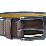D555 Burnished Edge Leather Belt in Brown|42