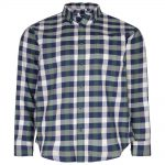 KAM Casual Check Shirt with Chest Pocket in Dark Ivy and Blue