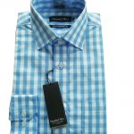 Double Two Bold Blue Check Shirt  19.5
