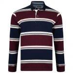 Kam Corduroy Trim Long Sleeve Polo Shirt Stripe Burgundy Red