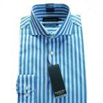 Double Two Bold Blue Stripe Shirt  18.5