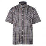 Kam Oxford Check Short Sleeve Shirt – Brown
