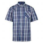Kam Oxford Check Short Sleeve Shirt – Blue