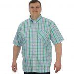 Kam Oxford Green Check Short Sleeve Shirt 2XL