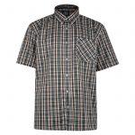 Kam Oxford Green Check Short Sleeve Shirt