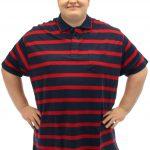 Brooklyn Striped Polo Shirt Red/Navy