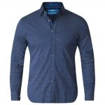 D555 Lavar Long Sleeve Diamond Printed Shirt Blue and White|6XL