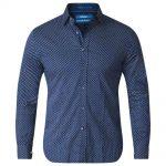 D555 Lavar Long Sleeve Diamond Printed Shirt Blue and White|5XL