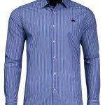 Raging Bull 3 Colour Stripe Poplin Shirt in Navy Blue