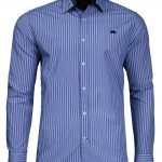 Raging Bull 3 Colour Stripe Poplin Shirt in Navy Blue|4XL
