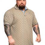 Kam Printed Short Sleeve Polo Shirt Safari Beige