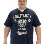 Loyalty & Faith Mortimer V Neck T-shirt – Navy – Tee -3XL